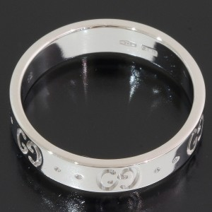 Gucci ICON 18K White Gold Ring Size 6