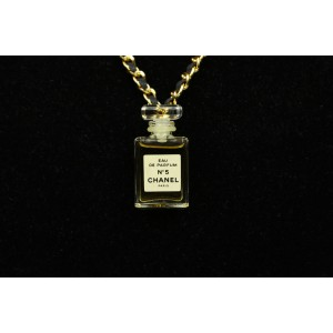Chanel Gold Tone Leather Perfume Bottle Necklace