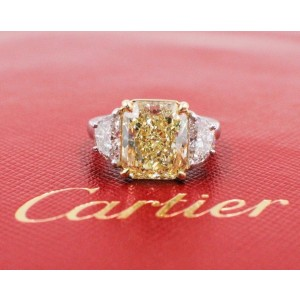 Cartier Engagement Ring 950 Platinum & 18K Yellow Gold 6.26tcw Diamond Size 4.75