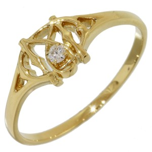 Mikimoto 18K Yellow Gold Diamond Ring Size 7.25