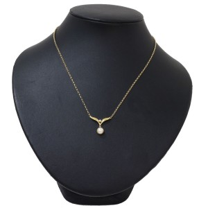 Mikimoto 18K Yellow Gold Cultured Pearl, Diamond Pendant
