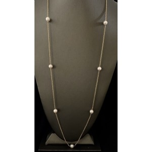 14k Yellow Gold Akoya Cultured Pearl Necklace