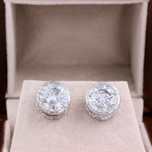 Round Diamond Bezel Set Earrings 5.87 tcwin 14k White Gold $60,000 Retail