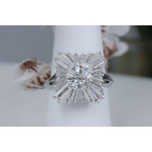 2.28 tcw Old Cut Diamond Ballerina Ring with Tapered Baguettes in Platinum