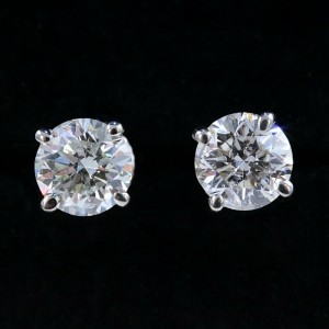 Round Diamond Solitaire Stud Earrings 2.05 tcw set in 14k White Gold