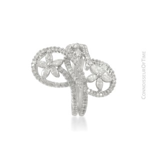 18K White Gold & Diamond Floral Ring - 1.54 Carats - $3,720 with Full EGL Report