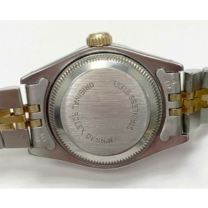 Rolex Ladies Date 69173 White Dial Diamond Bezel 18K Yellow Gold & Stainless