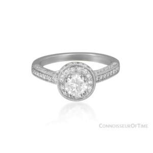 14K White Gold & Diamond Halo Engage/Wedding Ring, .47CT, .70TDW - $4,890 EGL
