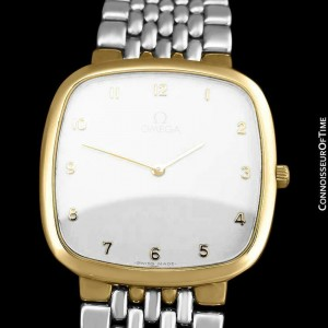 Omega De Ville Mens Unisex 18K Gold Plated & SS Steel Watch - Mint with Warranty