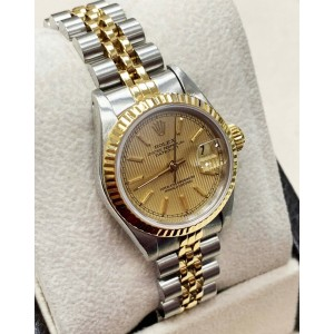 Rolex Ladies Datejust 69173 18K Yellow Gold & Stainless Steel Box & Papers