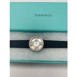 Tiffany & Co Atlas White Mother of Pearl MOP 18K White Gold & Diamond with Box