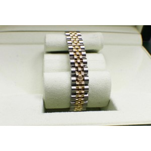 Rolex Ladies Datejust 179173 18k Yellow Gold & Stainless Silver Dial Box Papers