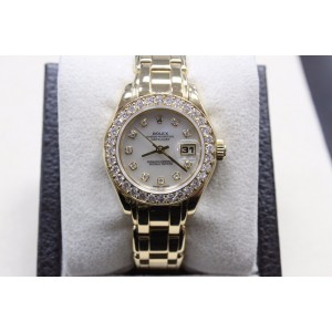 Rolex Pearlmaster 69298 MOP Diamond Dial & Bezel 18K Yellow Gold Box & Papers
