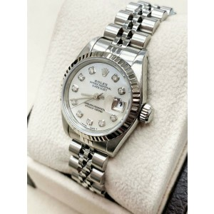 Rolex Ladies Datejust Steel & 18K Gold 69174 Mother of Pearl Diamond Dial