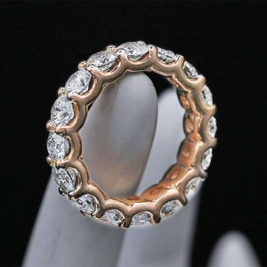 Diamond Eternity Band features 5.00ct of Round Diamonds 14k Rose Gold