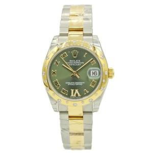 Women's Rolex Datejust Two-Tone w/ Green Diamond Dial & Diamond Bezel 178343