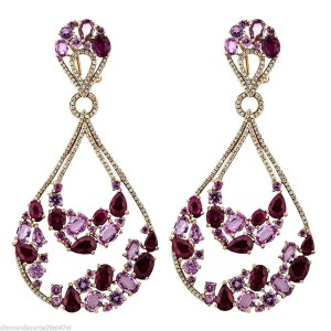 18k rose gold 1.04ct diamond and ruby earrings