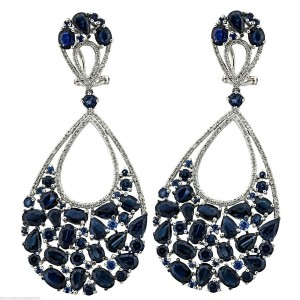 18k White Gold 1.02ct Diamond 25.00ct Sapphire Earrings