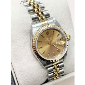 Rolex Ladies Date 69173 Champagne Dial 18K Yellow Gold & Stainless Steel