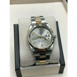 Rolex Date 15203 Silver Dial 18K Yellow Gold & Stainless Steel