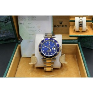 Rolex Submariner 16613 Blue Dial 18K Yellow Gold & Stainless
