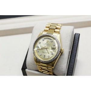 Rolex President Day Date 1803 Diamond Dial Bezel 18K Yellow Gold Florentine