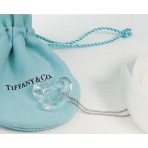 Tiffany & Co. Peretti Large Rock Crystal Quartz Open Heart Pendant Platinum Chain
