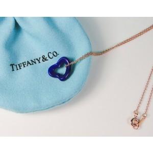 Tiffany & Co Elsa Peretti Lapis Lazuli Open Heart Gemstone Pendant 18K RG Chain