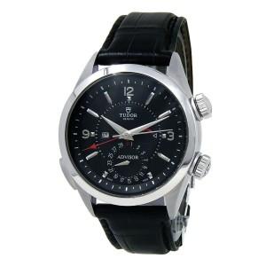 Tudor Heritage Advisor Stainless Steel Black Leather Black Men's Watch 79620TN