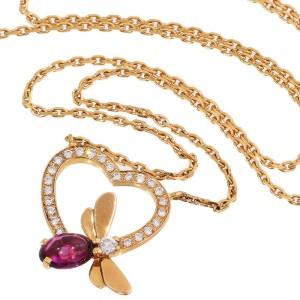 Chaumet 18K Rose Gold / 18K Pink Gold Attrape-moi Amethyst Diamond Heart Necklace