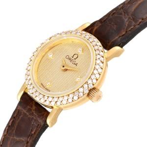 Omega DeVille Mini Yellow Gold Diamond Cocktail Ladies Watch 1450