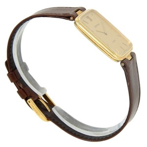 Certina 18k Yellow Gold Brown Leather Quartz Champagne Ladies Watch 5038150