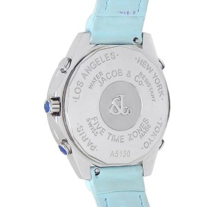 Jacob and Co. Five Time Zone Stainless Steel Mother or Pearl Ladies Watch JC-123