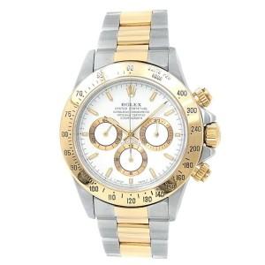 Rolex Daytona 18k Yellow Gold Steel Oyster Automatic White Men's Watch 16523