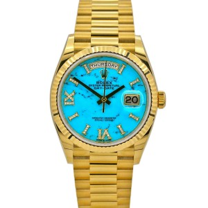 Men's Rolex Day-Date 36, 18k Yellow Gold, Turquoise Diamond Dial, 128238