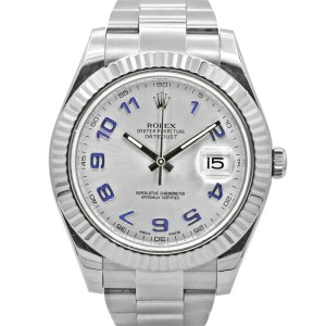 Men's Rolex Datejust II 41, Stainless Steel, 18k White Gold, Silver Dial, 116334