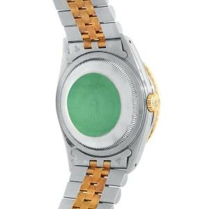 Rolex Datejust 18k Yellow Gold Steel Jubilee Automatic Black Men's Watch 16263