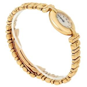 Cartier Vermeil 18k Yellow Gold Quartz White Ladies Watch