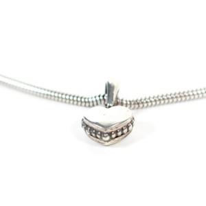 Mini Heart Choker Necklace - 22 grams 925 Sterling Silver Beaded Pendant