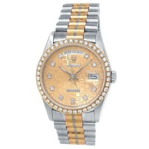 Rolex Day-Date 18k White Gold Tridor President Auto Champagne Men's Watch 18349