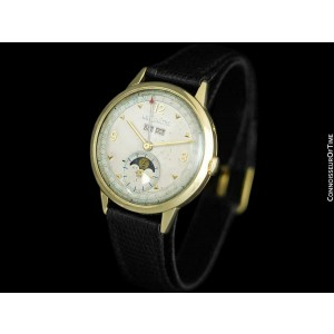 1949 JAEGER-LECOULTRE Vintage Mens Triple Date Moon Phase Watch - 14K Gold