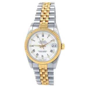 Rolex Datejust 18k Yellow Gold Stainless Steel Jubilee White Midsize Watch 68273