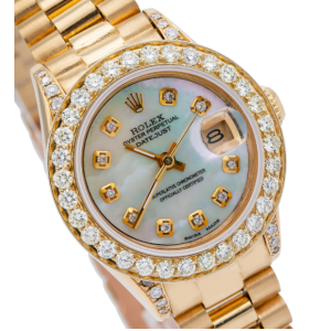 ROLEX DATEJUST LADY PRESIDENT WATCH YELLOW GOLD, WITH DIAMONDS, MOP DIAL 6908
