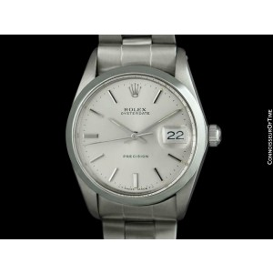 1966 ROLEX Vintage Mens Oysterdate Date Watch, Silver Dial - Stainless Steel