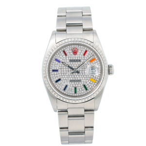 ROLEX DATEJUST 16030 36MM DIAMOND DIAL WITH STAINLESS STEEL OYSTER BRACELET