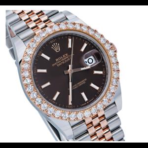 ROLEX DATEJUST 41M126331 BROWN DIAL WITH TWO TONE JUBILEE BRACELET DIAMOND BEZEL