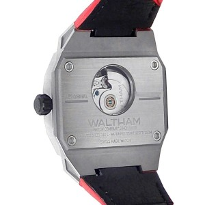 Waltham AeroNaval Stainless Steel Red Leather Automatic Black Men's Watch AN-01