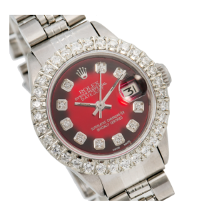 ROLEX DATEJUST LADY WATCH 69174 26MM RED DIAMOND DIAL DIAMOND BEEZEL JUBILEE