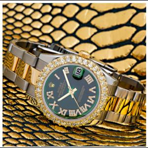 ROLEX DATEJUST MIDSIZE 178273 31MM GREEN DIAMOND DIAL TWO TONE OYSTER BRACELET