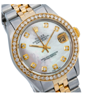 ROLEX DATEJUST MIDSIZE 6827 31MM PINK DIAMOND DIAL WITH TWOTONE JUBILEE BRACELET